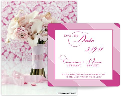 Pretty in Pink Save the Date: Sassy Stripes! Different colors for a save the date or could use this as a bridal shower/bachelorette party or other invitation!