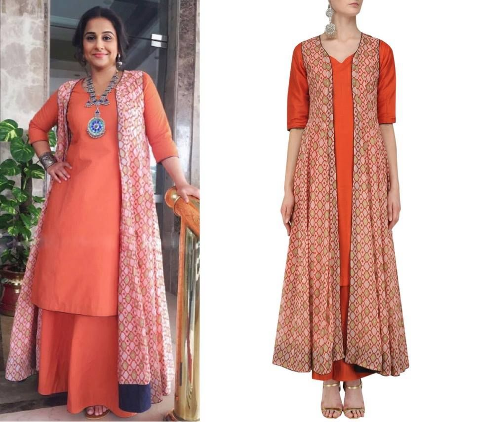 75041eb1e28 Vidya Balan keeps it simple and gracious with an Orange Kurta and Palazzo  Pants and a Printed Long Jacket by Mint Blush. Perfect for a day event!