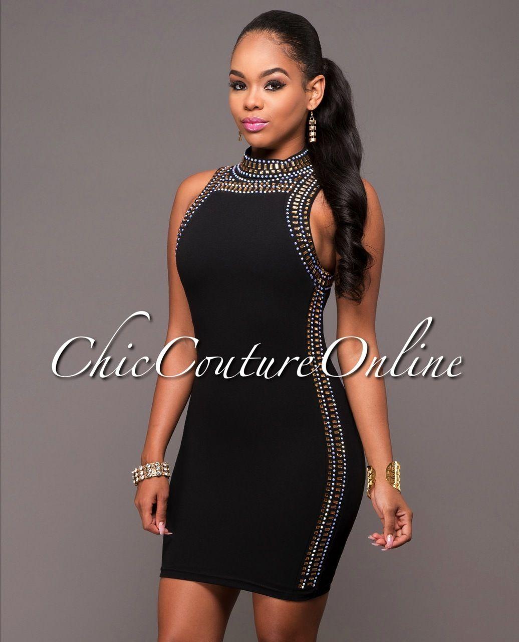 Lyric black rhinestones embellished dress fashion pinterest