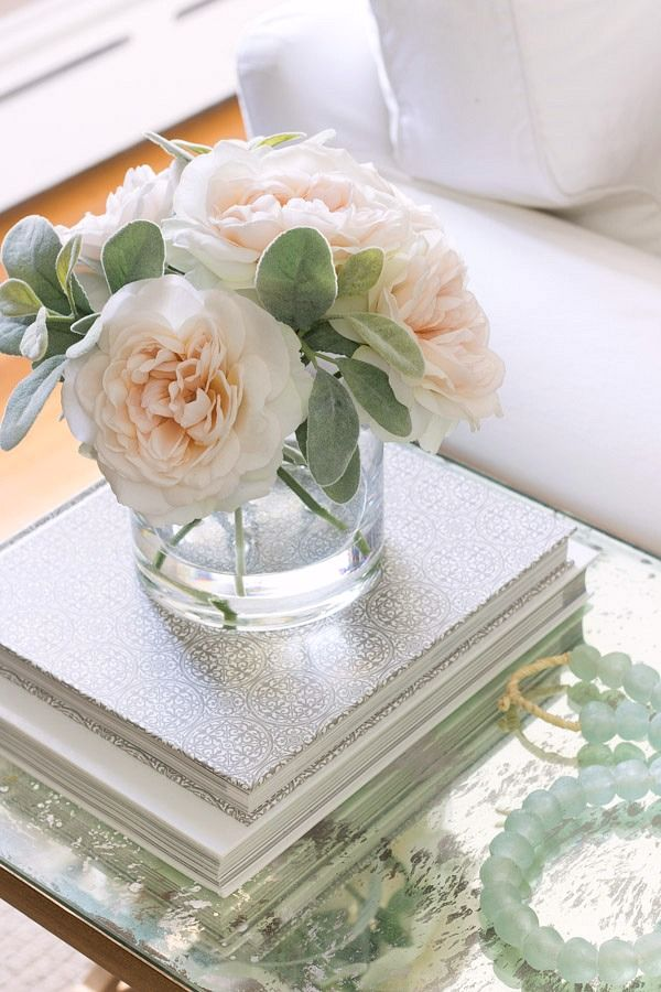Faux Silk Flower Arrangement As Side Table Decor