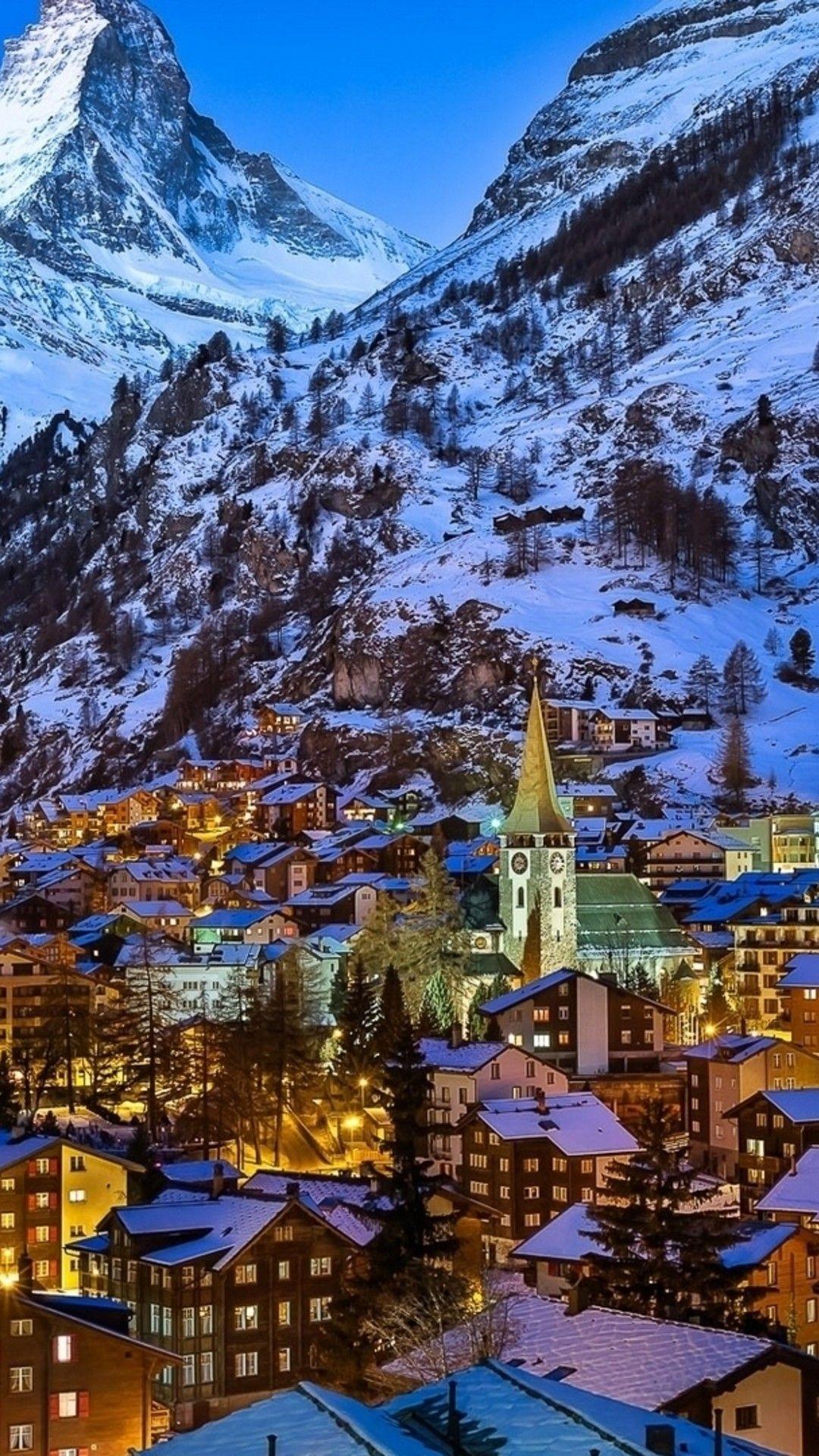 Wallpaper Download 1080x1920 Winter At Zermatt Valley Switzerland Winter Wallpapers Seasons Wallpapers Cool Places To Visit Best Ski Resorts Places To Visit