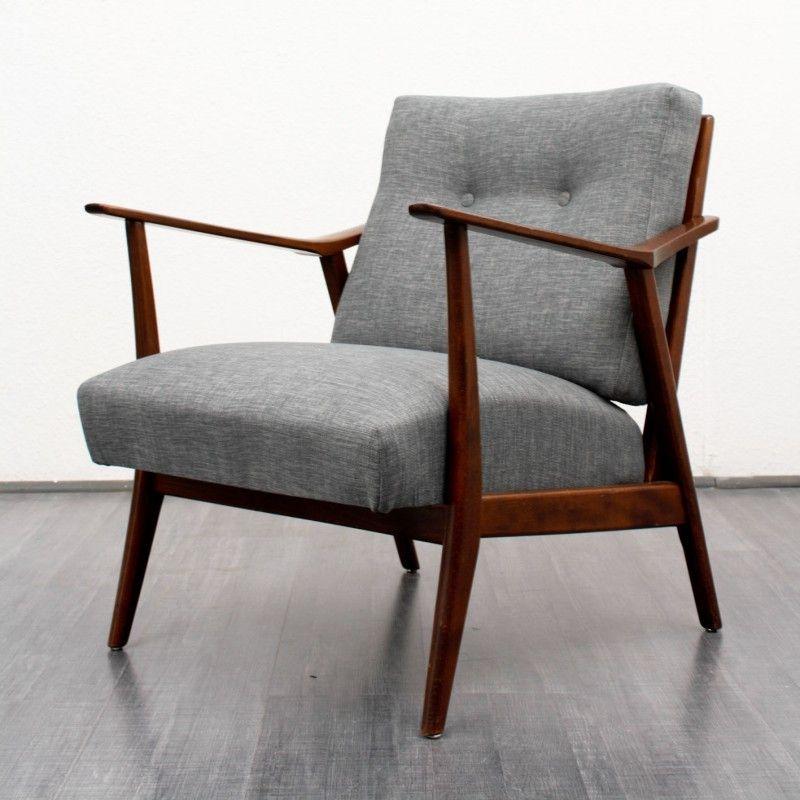 fauteuil vintage en bois et tissu gris chin 1950 fauteuil vintage tissu gris et gris chin. Black Bedroom Furniture Sets. Home Design Ideas