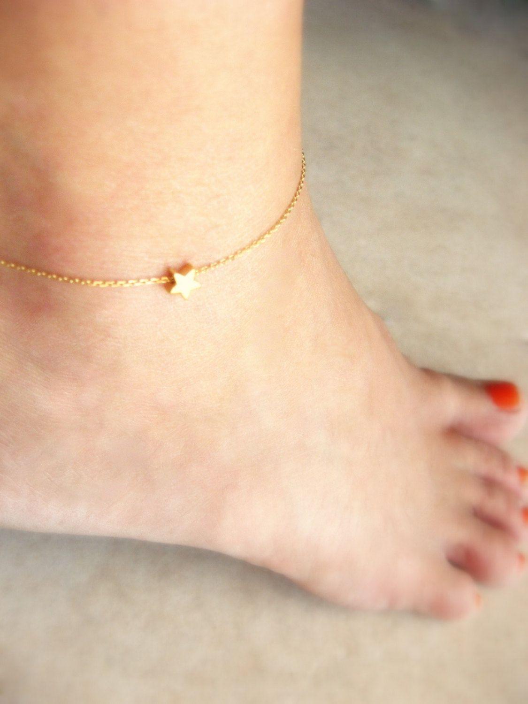 7c2dbd513 Gold Anklet Gold Ankle Bracelet Gold Star Anklet Foot Jewelry Initial Anklet  Gold Anklet Gold Star Anklet Delicate Gold Initial Anklet (15.00 USD) by ...