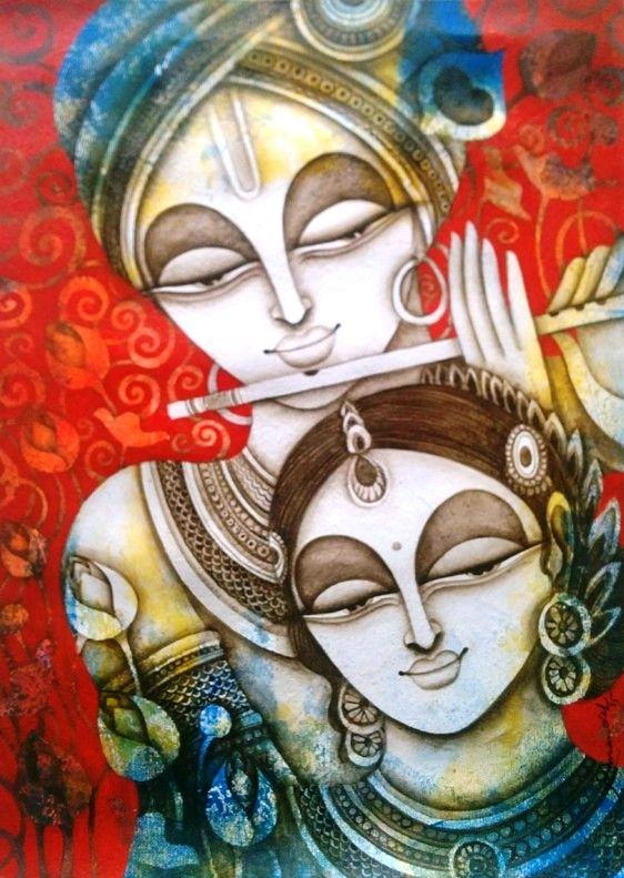 Rakesh mandal rhythm of love iv 22 x 30 krishna for Mural radha krishna
