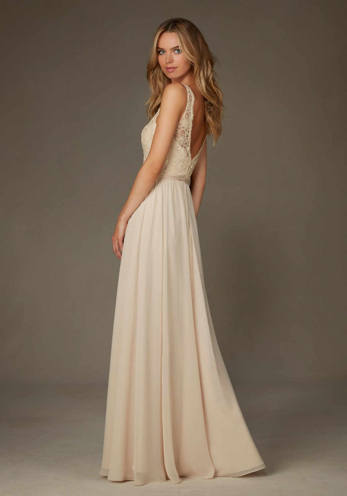 Elegant bridesmaids dress featuring a beaded lace bodice with