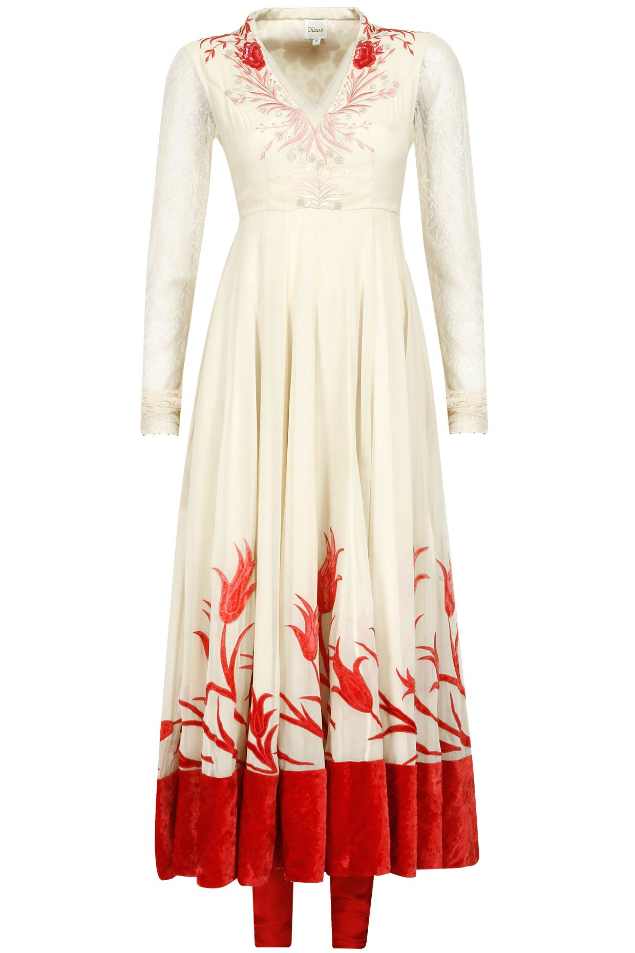 Biscuit beige and red thread embroidered kurta set available only at Pernia's Pop-Up Shop.
