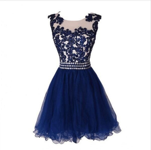 2017 A-Line Sexy Navy Blue Homecoming Dresses,Sleeveless