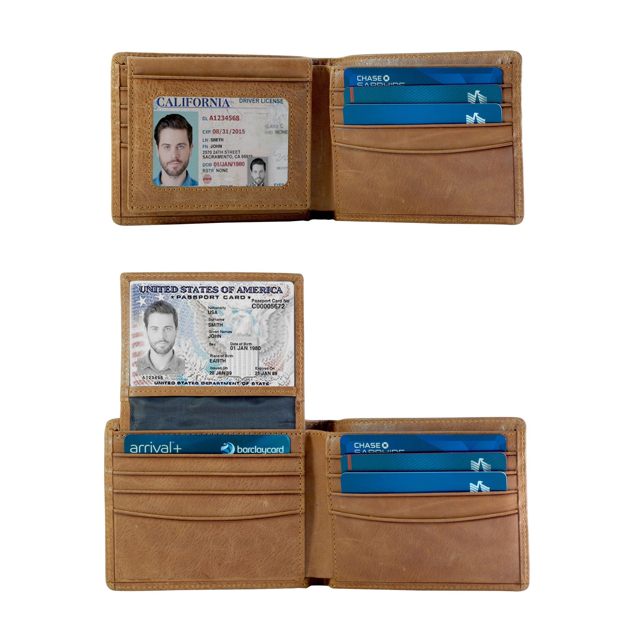 Leather travel wallet with driver ID window Leather passport wallet Travel bifold wallet Passport holder ID licence Personalized leather