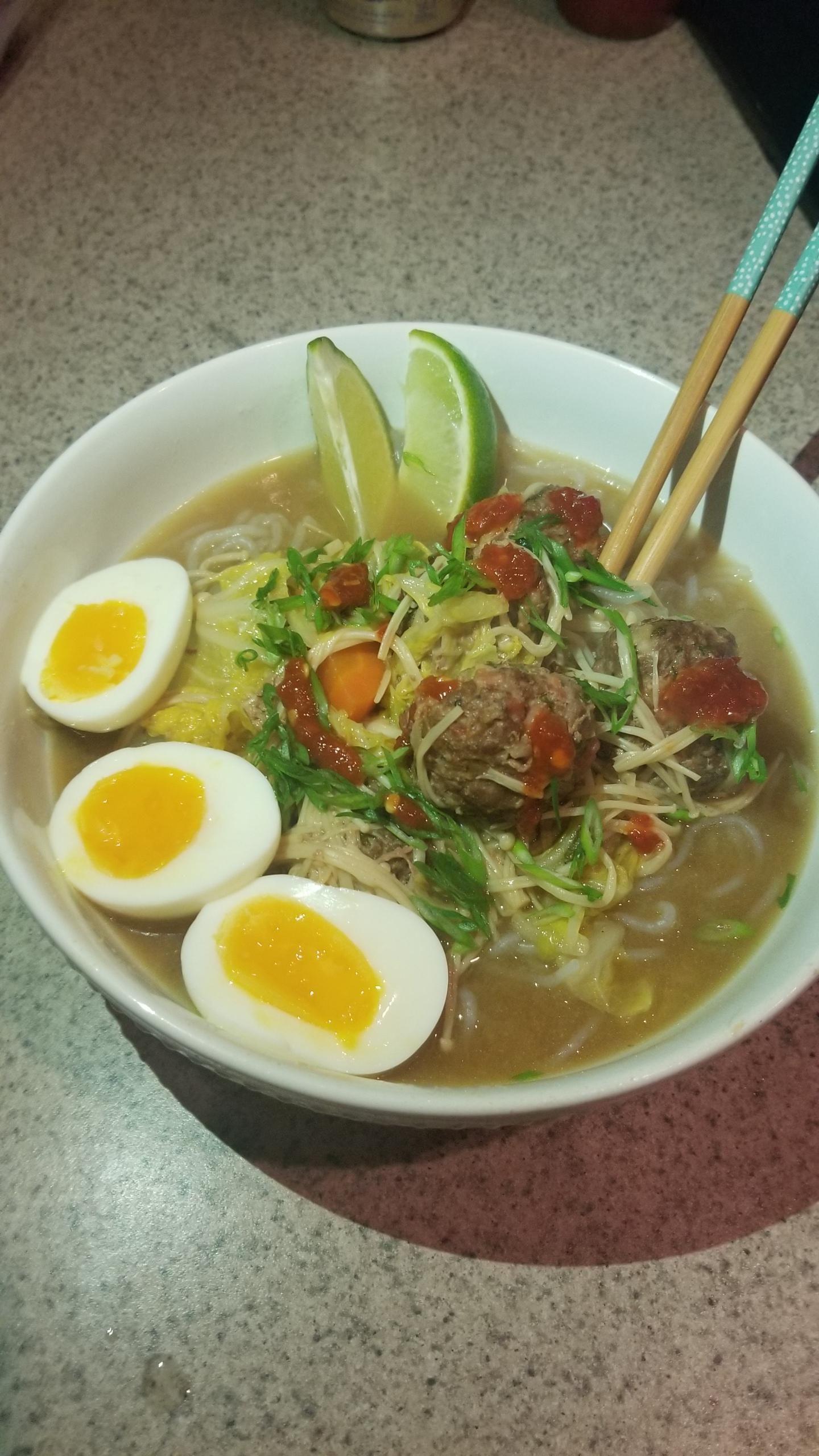 Keto Ramen Shirataki Noodles Japanese Meatballs Softboiled Eggs
