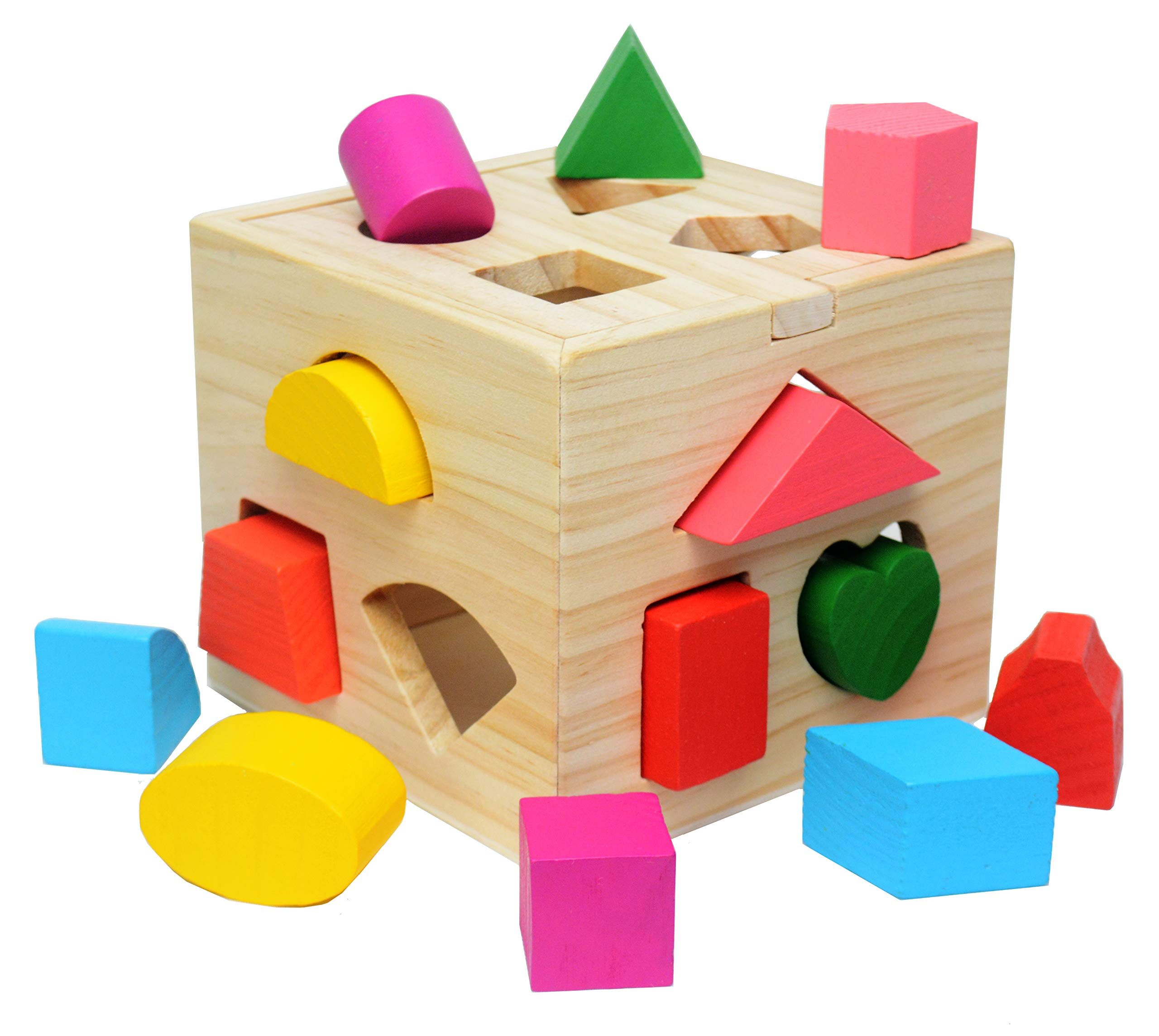 Shape Sorting Cube Toys With 13 Pcs Wooden Blocks ...