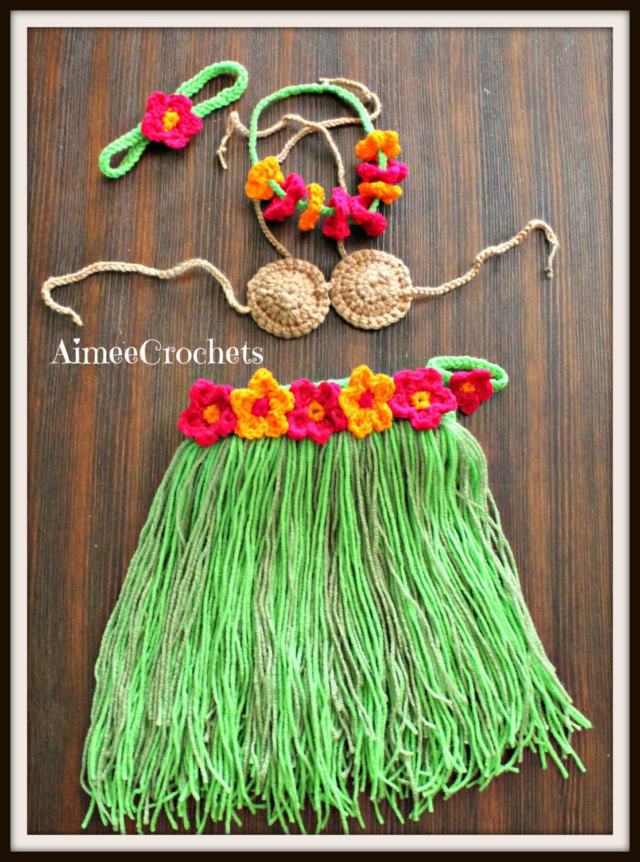 Baby Girls Hula Skirt Toddler Hawaiian Skirt 5 Piece Luau Outfit Crochet Beach Outfit Knit Pool Party Set