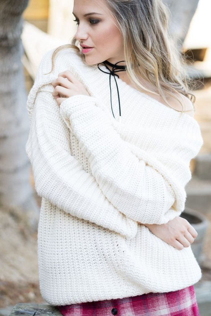 Freebird Ivory Ribbed Sweater | Cowl neck, Shoulder and Ivory
