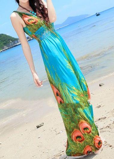 BEACH HIPPIE Peacock Print Maxi Dress $35 SHIPS FREE ♥ BUY HERE:  http://www.beachhippieinc.net/beach-hippie-peacock-print-maxi-dress-green/ ♥ INCLUDES NORTON SHOPPING GUARANTEE!