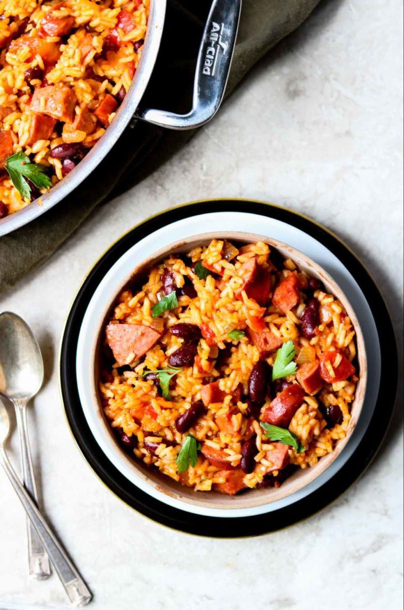 Skillet Dirty Rice & Beans #beefsausage