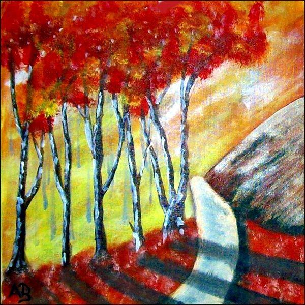 Berglandschaft-Ölmalerei-Herbst-Berge-Felsen-Bäume-Wiese ...