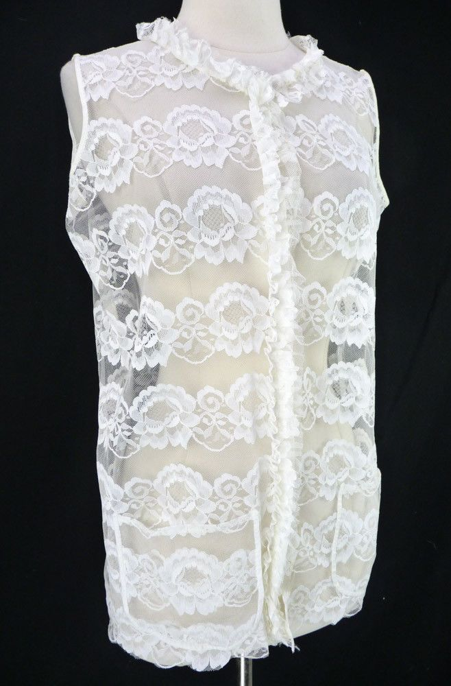 6866b74a461ed Vintage 70s All Sheer White Lace Sleeveless Vest Blouse Pockets Ruffles M   Unbranded