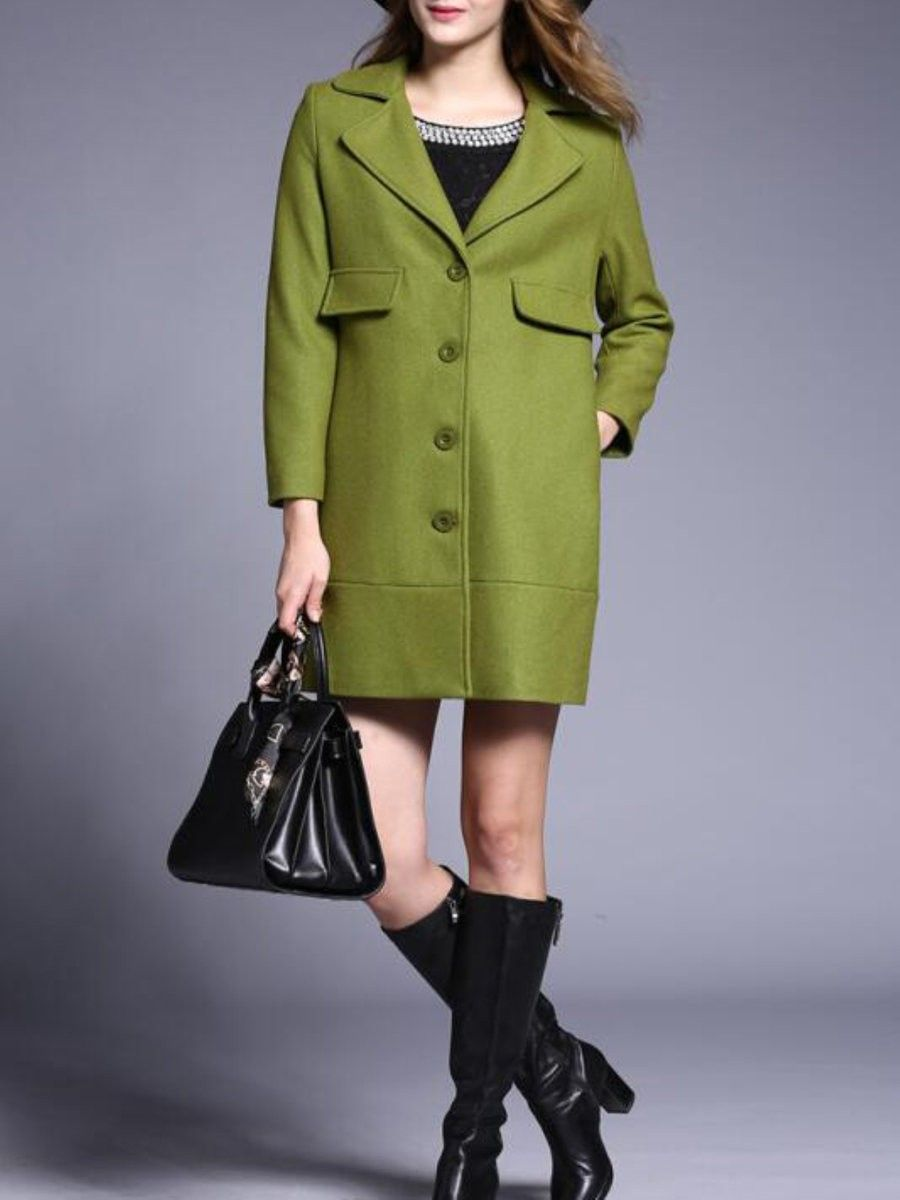 Green Wool Blend Long Sleeve Trench Coat