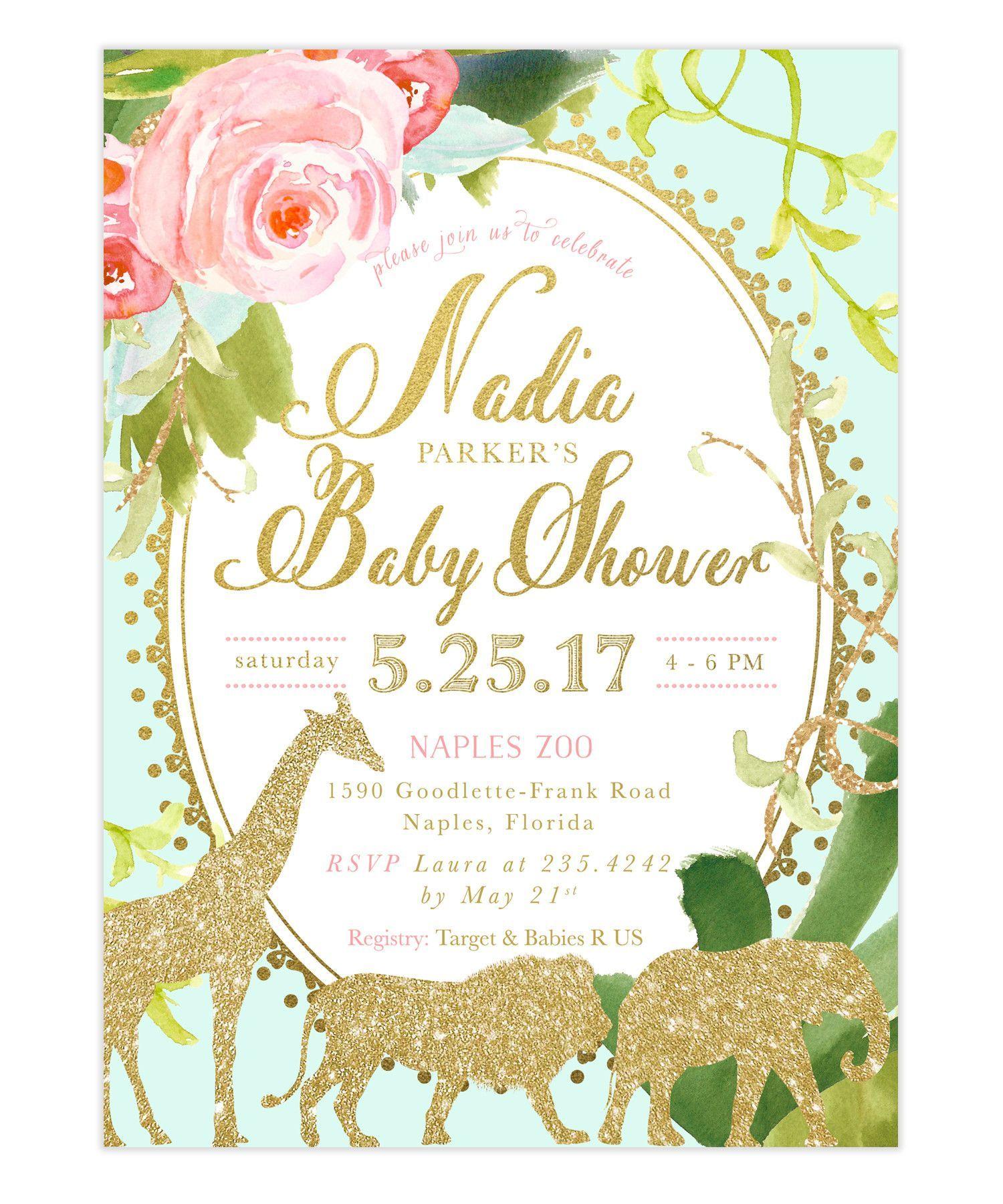 Glam Safari Jungle: Girl Baby Shower Invitation {Mint} | Shower ...