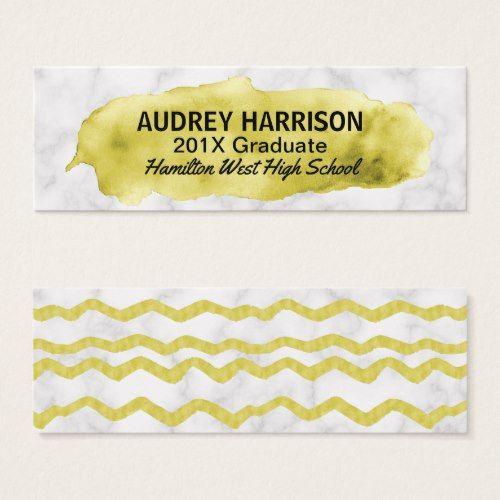 graduation name card senior inserts gold marble elegant graduation