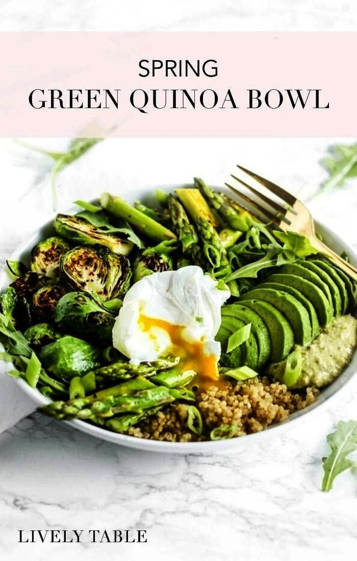 spring with a healthy Spring Green Quinoa Bowl filled with nourishing green vegetables, quinoa, avo