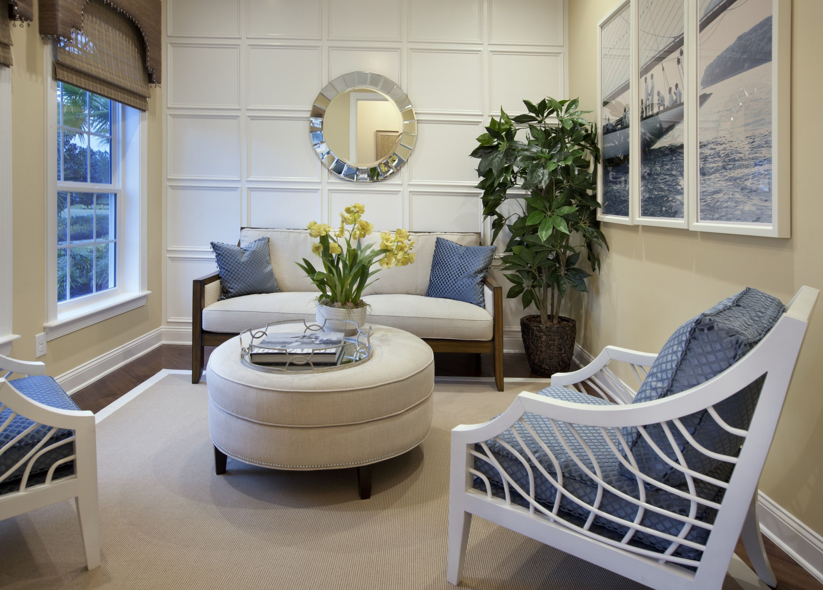 Enjoy a quiet moment in this serene sitting room from the