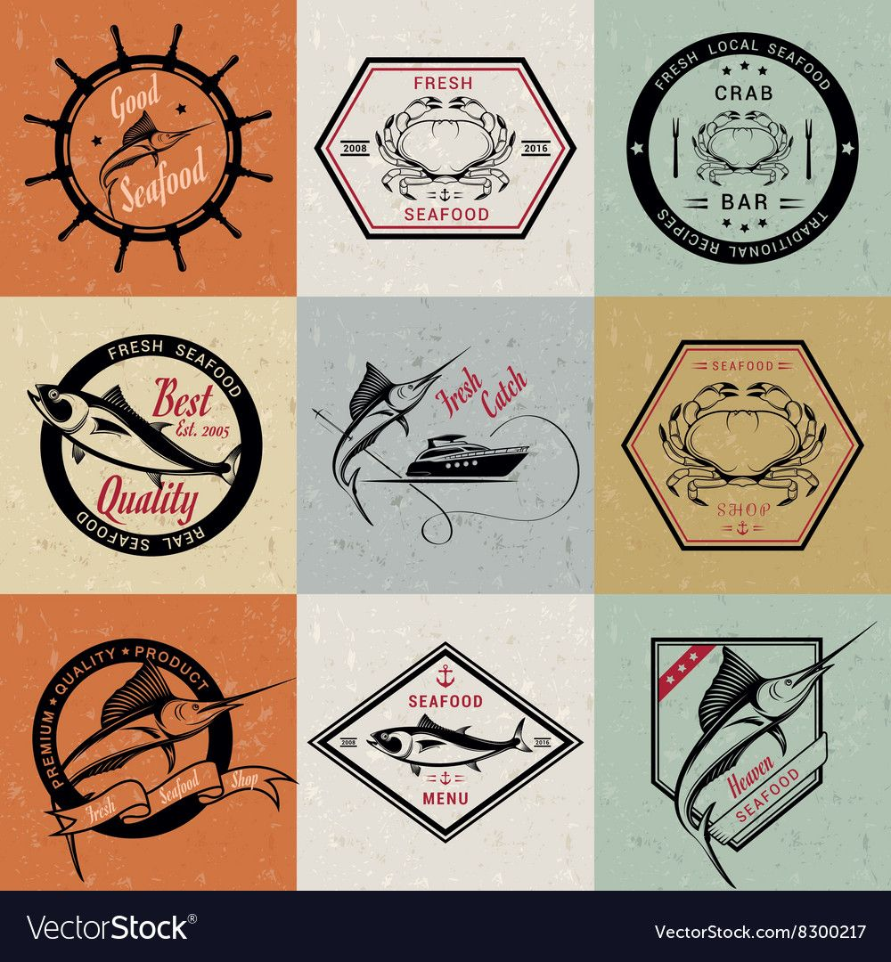 Set of Seafood Labels and Badges Royalty Free Vector Image