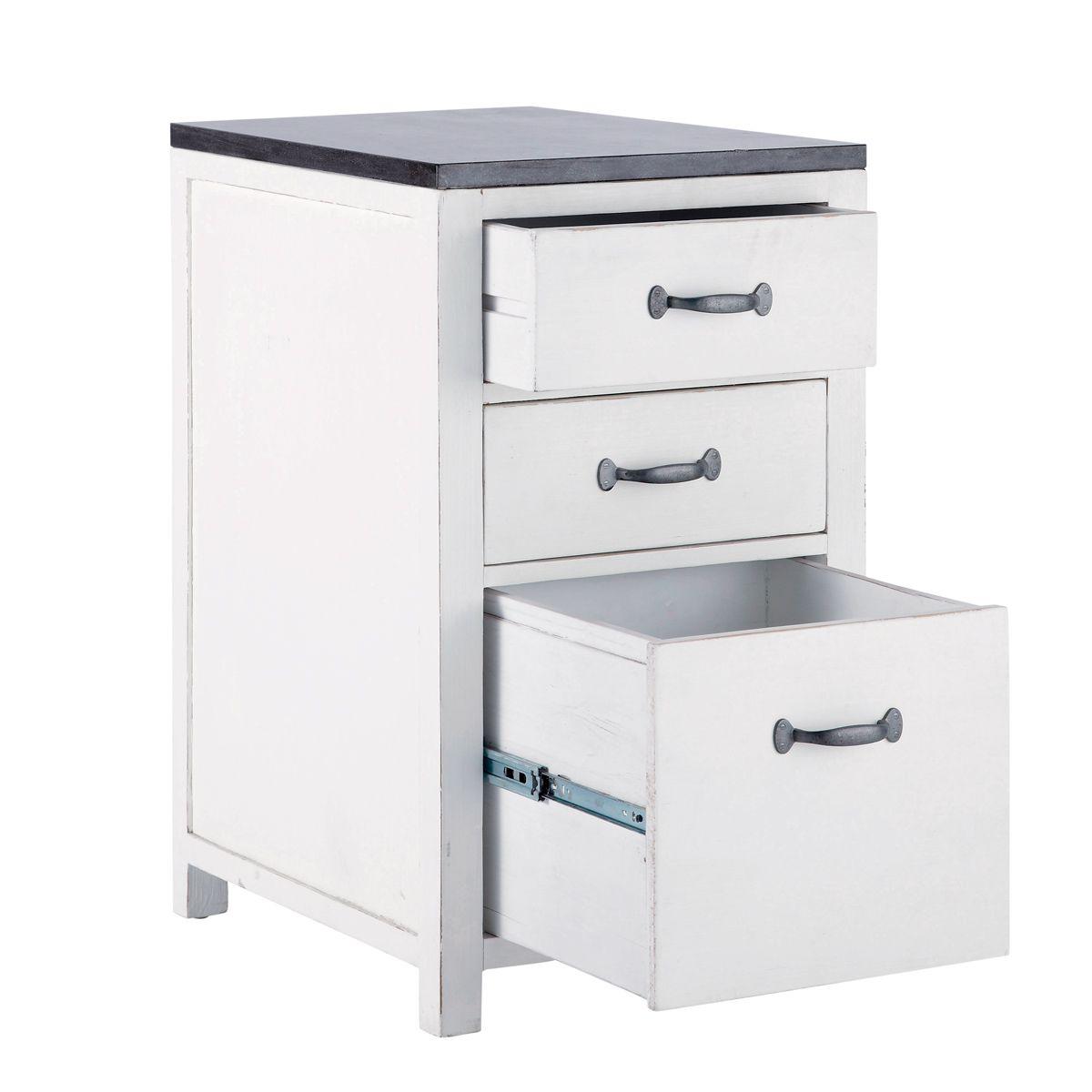 meuble bas de cuisine en bois recyclé blanc l 50 cm ostende | bord