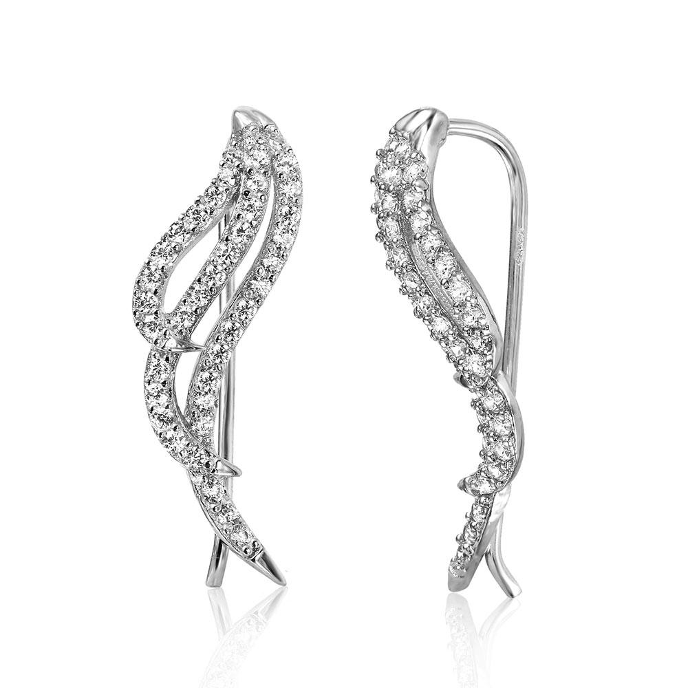 Sterling Silver Rhodium Plated Wings Earrings With Cubic