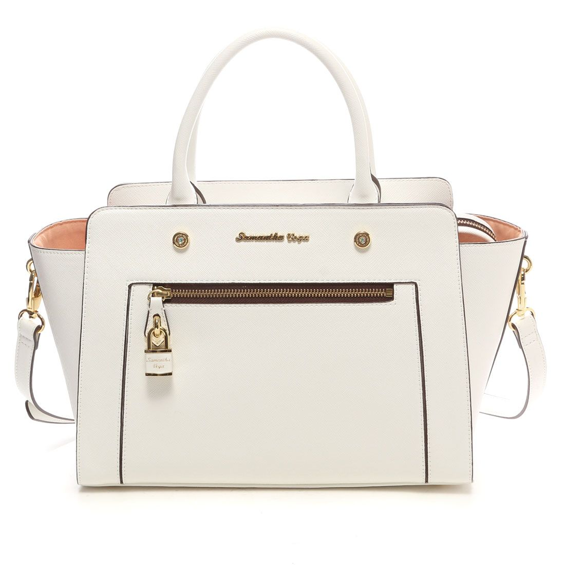 e822527f6d99 Samantha Thavasa サマンサベガ フロントジップトートバッグ 大(ホワイト) -靴とファッションの通販サイト ロコンド