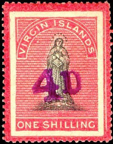 British_Virgin_Islands_1888_St.Ursula_Surcharged_4d_on_1s_Genuine