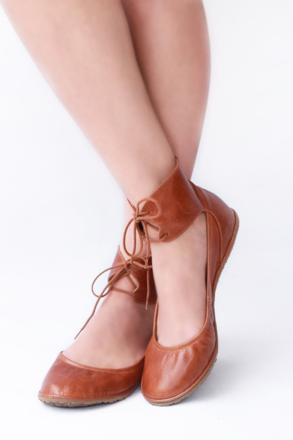 Ballet flats - Ankle lace-up Handmade