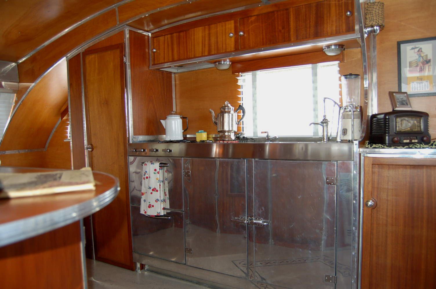 Exceptional Aero Flite Trailer | ... Steel Kitchen Cabinets And Countertop In A  Restored Aero