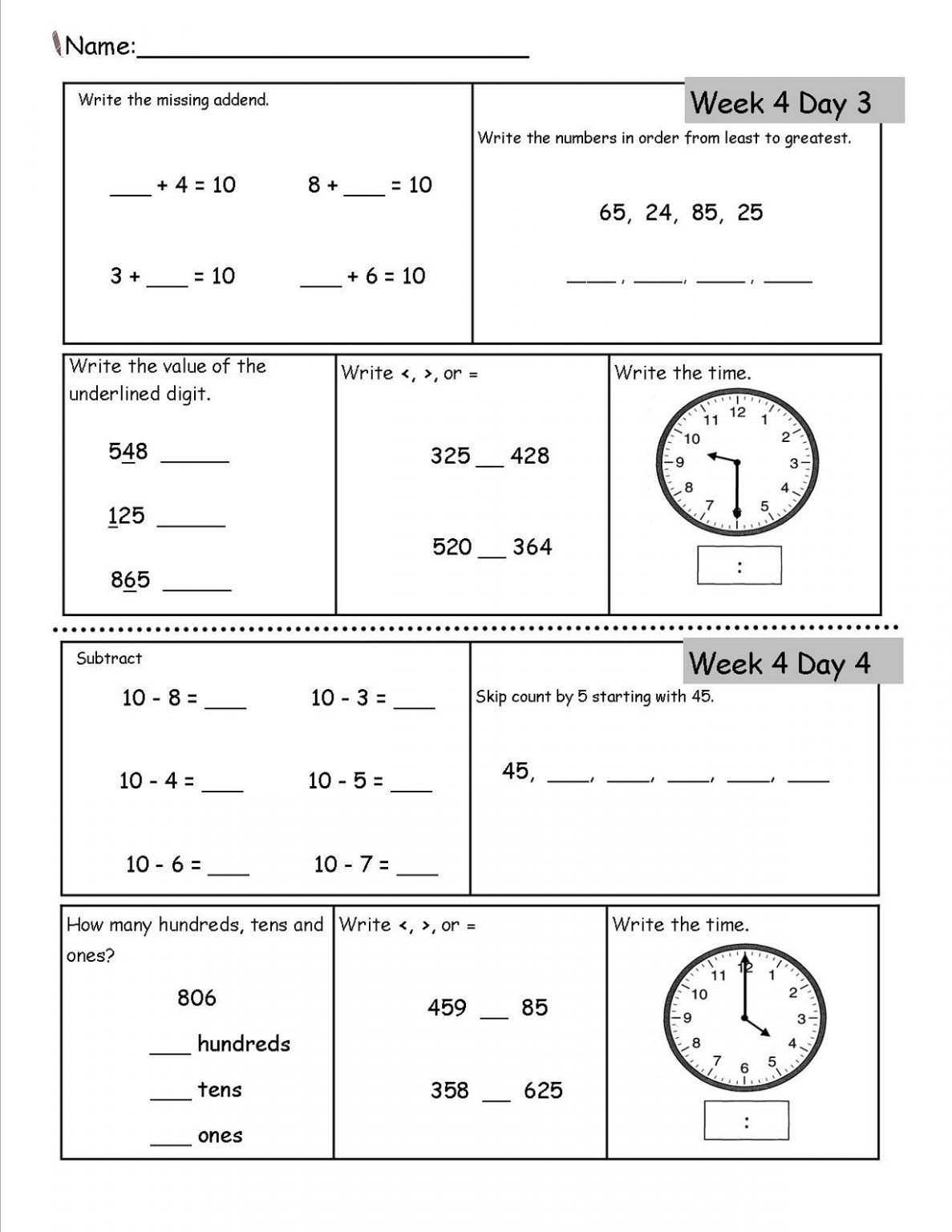 Printable 2nd Grade Worksheets For Students In