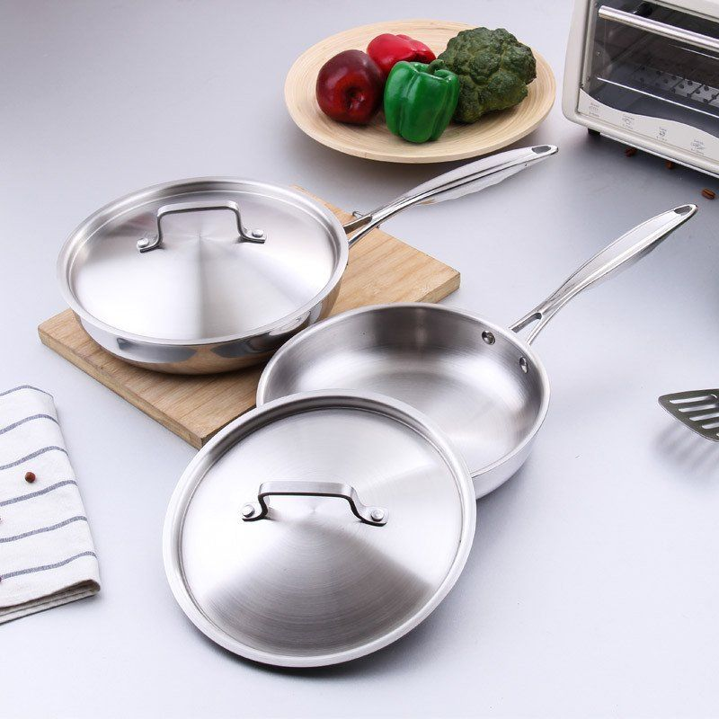 Stainless Steel Frying Pan Long Handle Non Stick Skillet Kitchen Cooking Tools