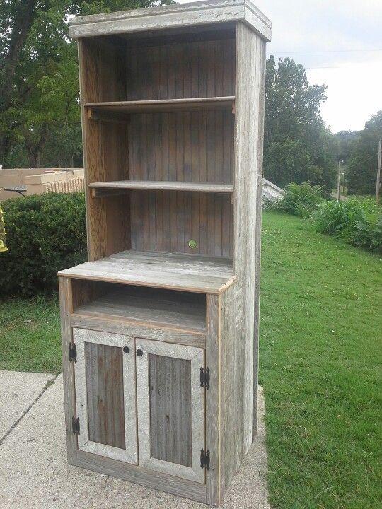 Barnwood Siding Microwave Stand
