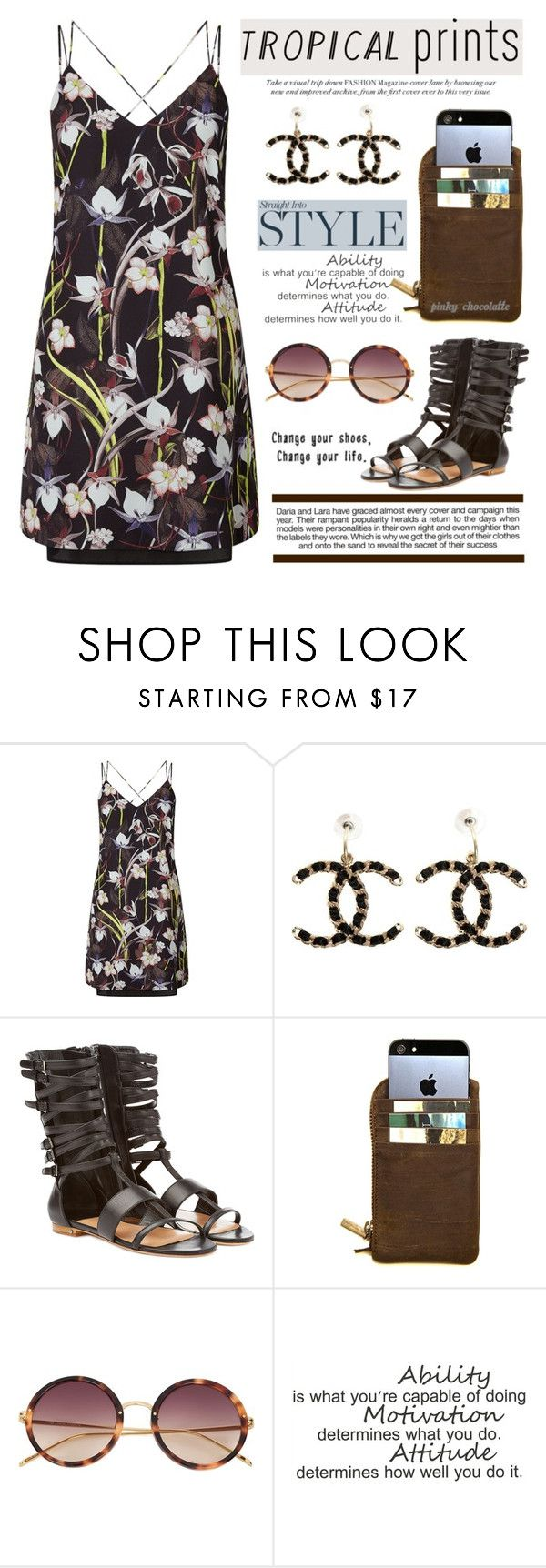 """""""Hot Tropics: 24/06/16"""" by pinky-chocolatte ❤ liked on Polyvore featuring Miss Selfridge, Chanel, Laurence Dacade, Kjøre Project, Linda Farrow and Industrie"""