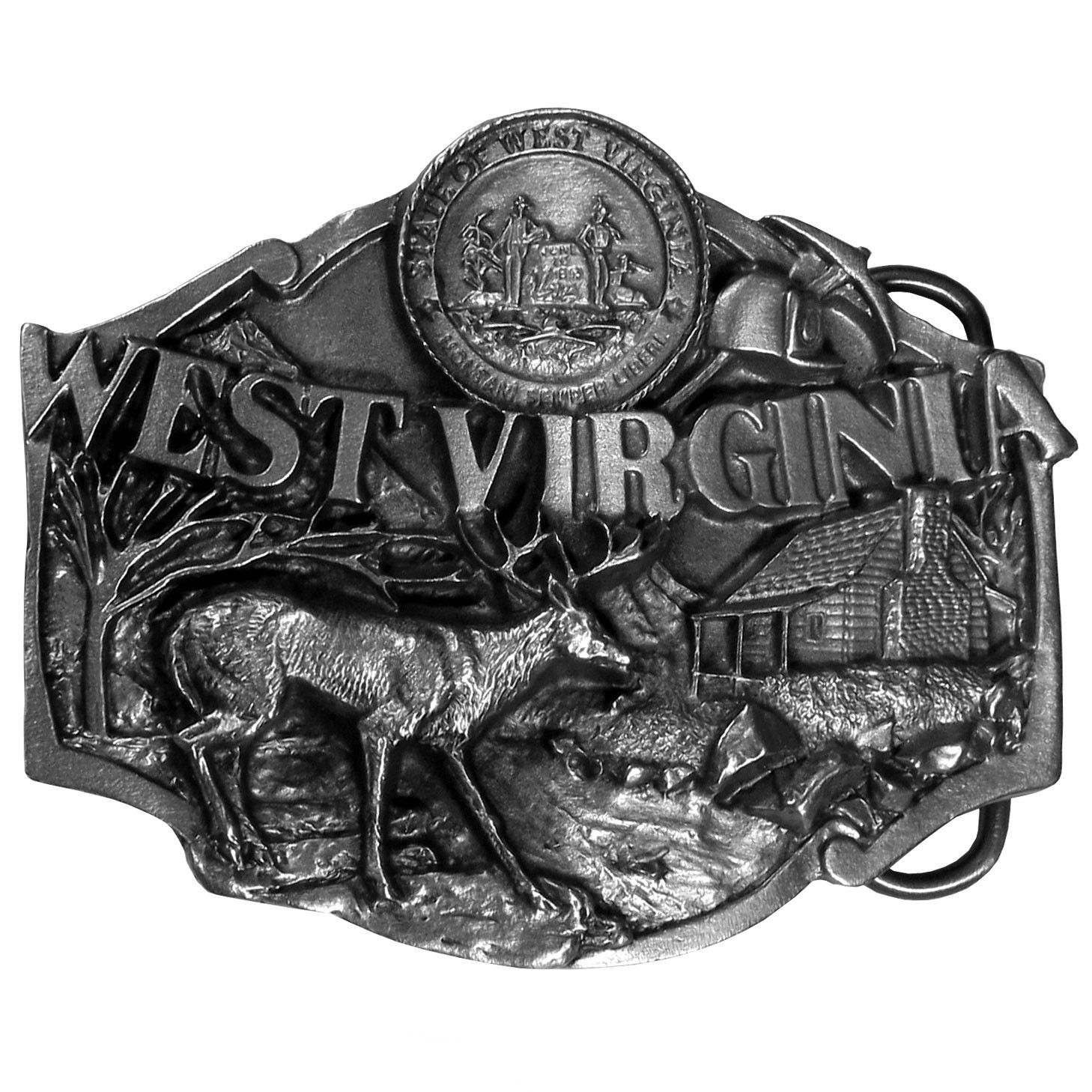 W. Virginia Antiqued Belt Buckle