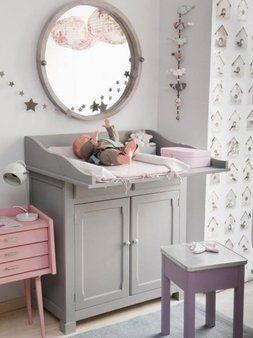babykamer grijs leuk met vogelhuisjes behang. - kinderkamer, Deco ideeën