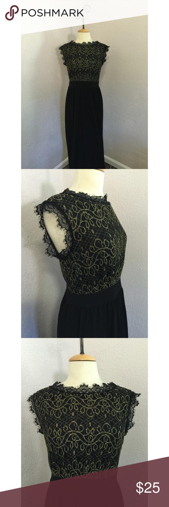 NWT ⚜ Canalite Black/Gold Dress Lace Trim size M&L Boutique