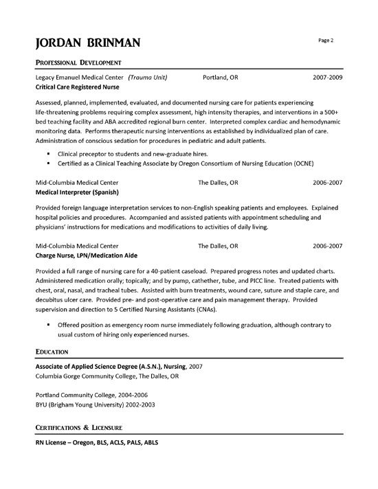 ER Nurse Resume Example Pinterest Resume examples, Registered - nursing resume skills