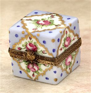 Limoges Blue Square with Gold and Roses box The Cottage Shop ...