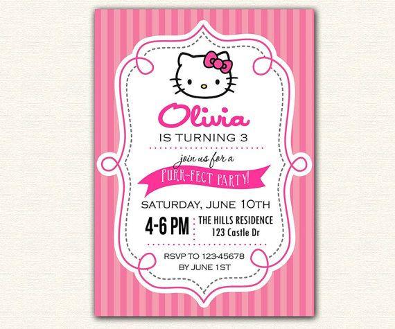 hello kitty invitation printable birthday party diy for