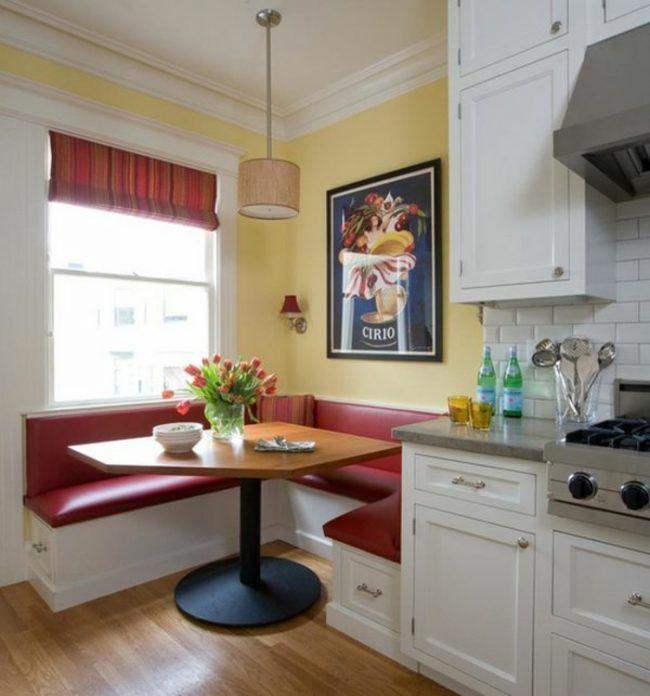 tisch individuell küchen design rote sitzbank weiße schränke ...