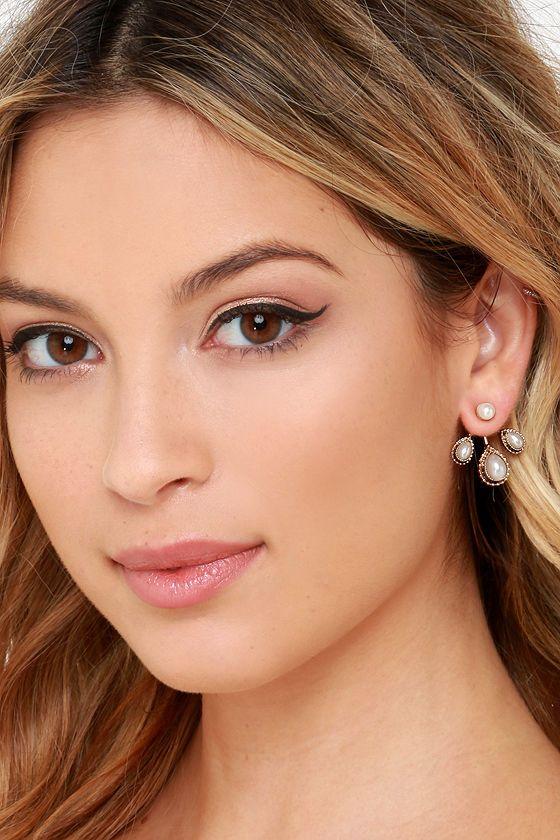 Pretty Gold Earrings - Pearl Earrings - Ear Jackets - $14.00