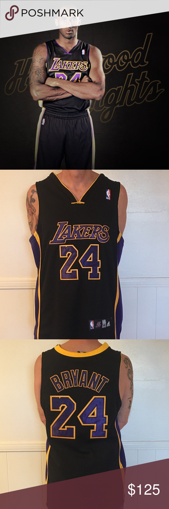 adidas Kobe Bryant Los Angeles Lakers BlackPurple Jersey Name and Number T Shirt