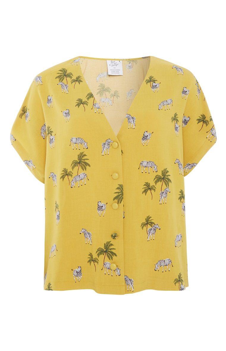 98c7ca6f Primark - Yellow Zebra Print Shirt | summer in 2019 | Printed shirts ...