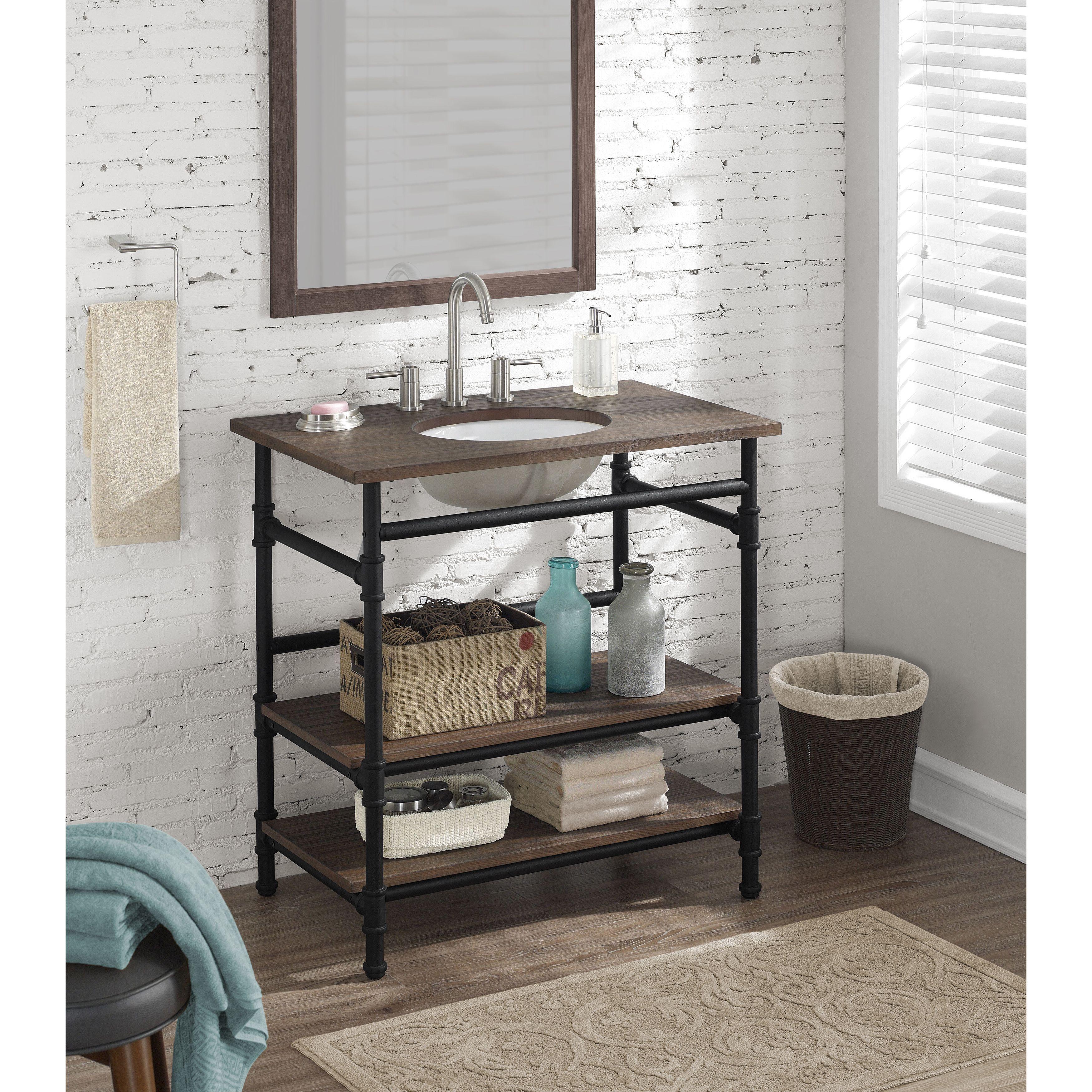 Dimensions inch industrial open shelf vanity bathroom vanities