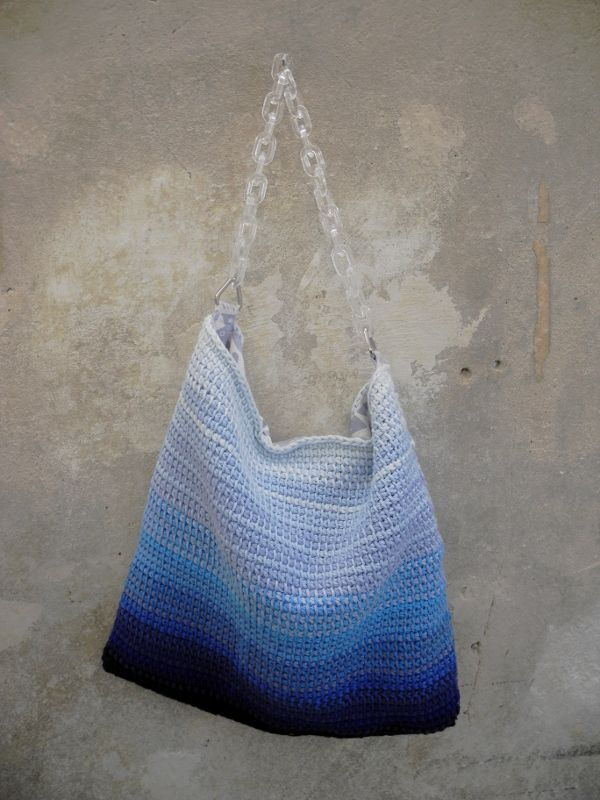 Blue and white tunisian crochet bag with acrylic chain handle