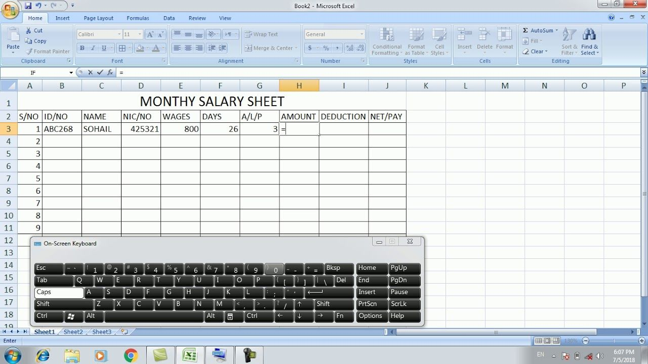 MS Excel Urdu Part 6 Creating Monthly Salary Sheet | Learn