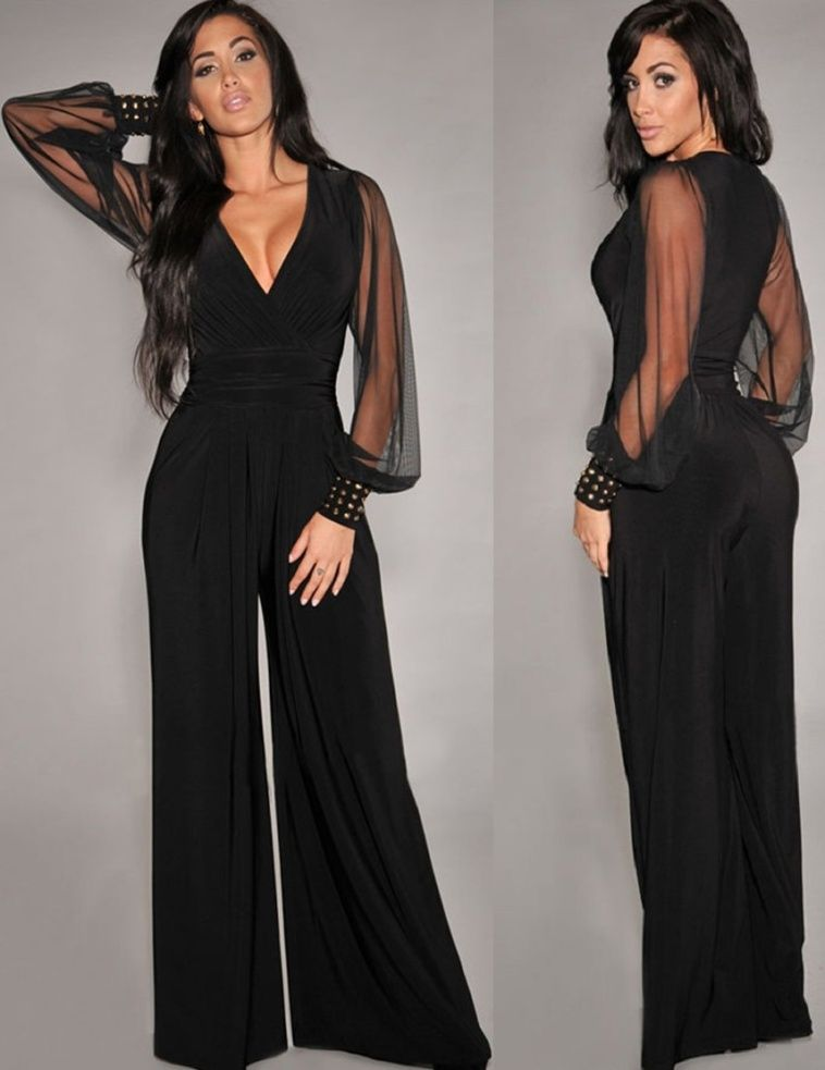 fd41914e095 Womens-Sexy-Loose-Jumpsuit-Casual-Elegant-Black-Chiffon-Long-sleeve-V-neck -Outfits-Sexy-long-jumpsuits